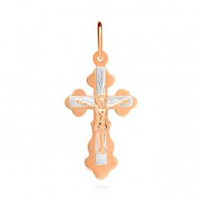 Золотой крестик из красного и белого золота