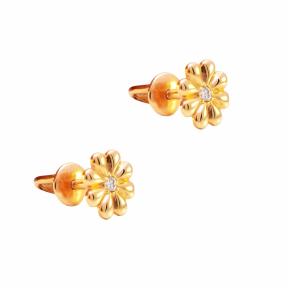 Золотые серьги гвоздики Цветы