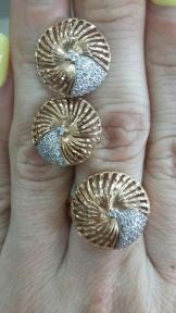 Золотой комплект с фианитами и алмазной гранью Андромеда