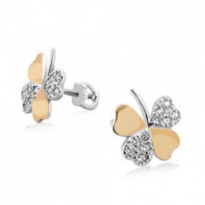 Серебряные серьги с золотыми вставками Клевер