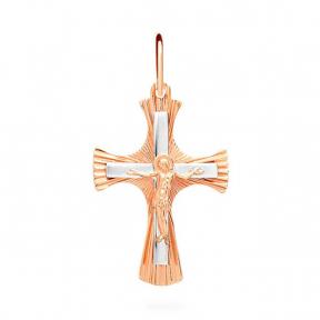 Золотой крестик с алмазной гранью и белым золотом