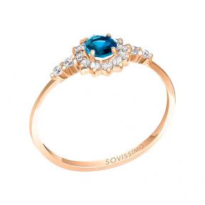 Золотое кольцо с лондон топазом Эмма