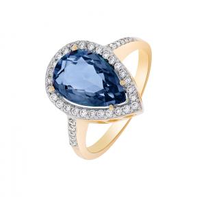 Золотое кольцо с синим корундом