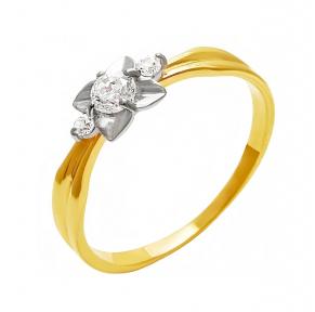 Золотое кольцо с фианитом Цветана