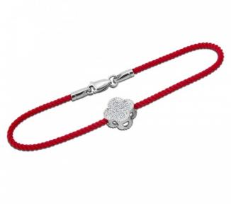 Браслет красная нить с серебряным замком Цветение
