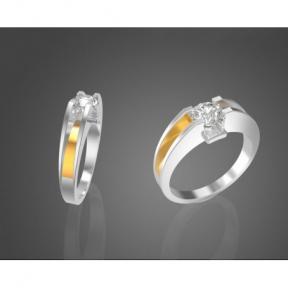 Серебряное кольцо с золотыми вставками и фианитом