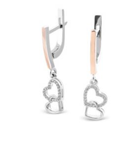 Серебряные серьги подвески Сердца
