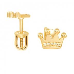 Золотые серьги гвоздики Корона