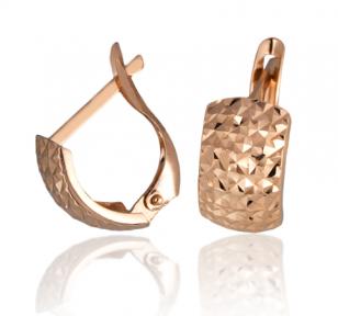 Золотые серьги с алмазной гранью Сара