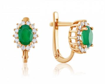 Золотые серьги с зеленым ониксом Изабелла