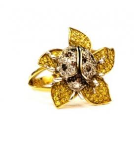 Кольцо желтое золото Цветок