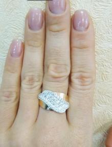 Кольцо сребро с золотом Анастасия
