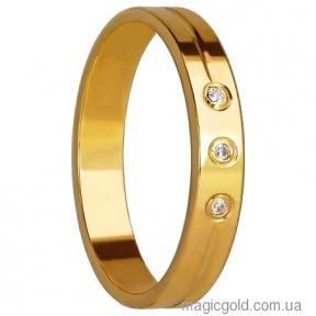 Золотые обручальные кольца с тремя фианитами