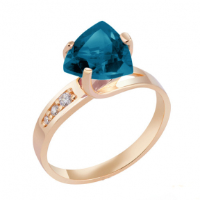 Золотое кольцо с Лондон топазом Эллика