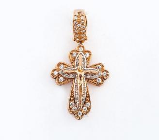 Золотой крестик с фианитами Декор
