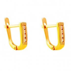 Золотые серьги с цирконами Дорожка