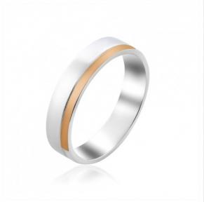 Обручальное серебряное кольцо с золотой вставкой