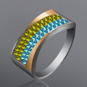 Серебряное кольцо с камнями сваровски