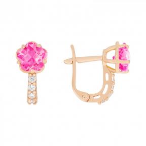 Детские золотые серьги с розовым фианитом