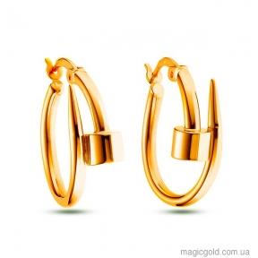 Золотые серьги кольца Картье