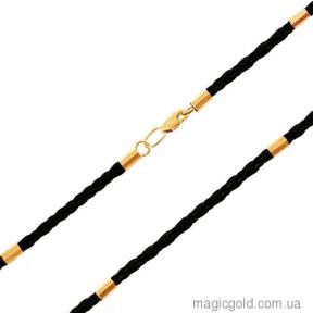 Кожаный шнурок на шею  с золотыми вставками