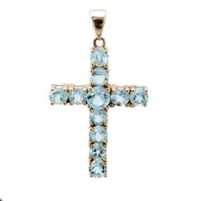 Серебряный крест с топазом