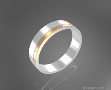 Серебряные обручальные кольца с золотой вставкой