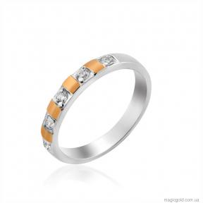 Серебряное кольцо с золотом и фианитами Австрия