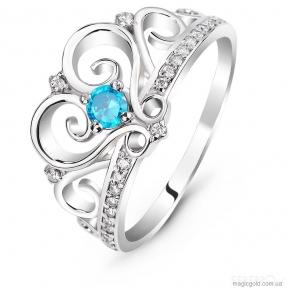 Серебряное кольцо Корона с аквамарином