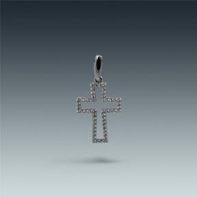 Серебряный крест с цирконием