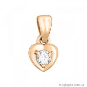 Золотой подвес Сердце с фианитом