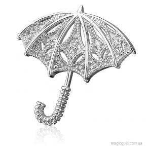 Серебряная брошь Зонтик