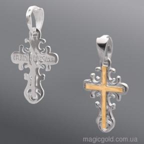 Серебряный ажурный крест с золотыми вставками