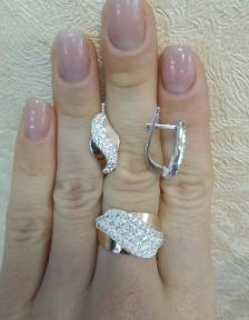 Серьги и кольцо серебро с золотом