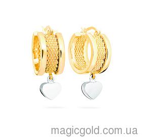 Золотые серьги из лимонного золота с подвесками Тиффани