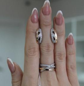Серебряное кольцо с золотом Ассоль