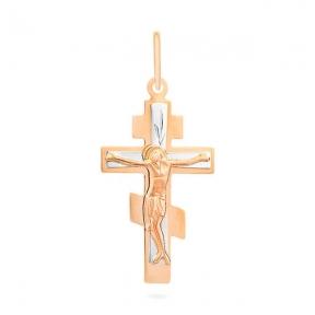 Золотой крестик детский со вставками белого золота