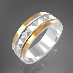 Серебряное кольцо с золотом Альянс