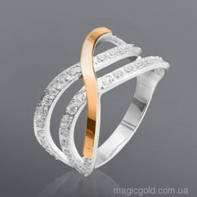 Серебряное кольцо с фианитами и золотыми вставками