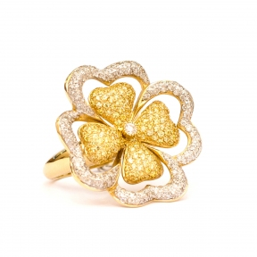Золотое кольцо из лимонного золота  АМЕЛИЯ