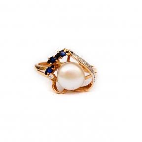 Золотое кольцо с сапфирами,бриллиантами и жемчугом