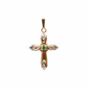 Золотой крест с бриллиантами и изумрудом