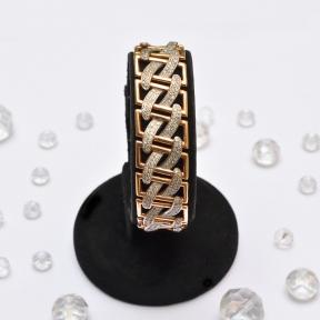 Широкий золотой браслет с цирконием