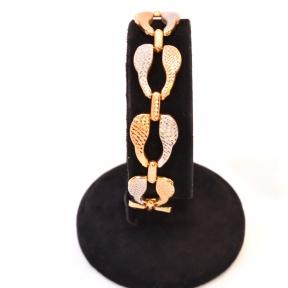 Золотой браслет комбинированный из красного и белого золота