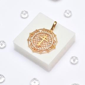 Золотой ажурный кулон с крестиком