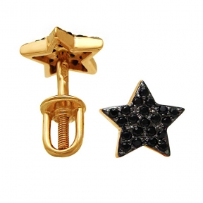 Золотые серьги гвоздики Звезда