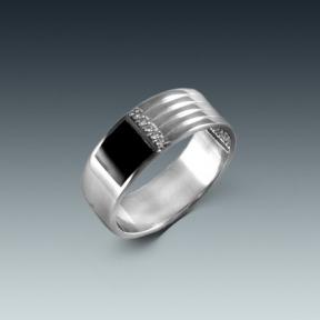 Серебряная печатка сцирконом  и эмалью
