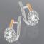 Серебряные серьги с золотом и крупным фианитом Сюзанна